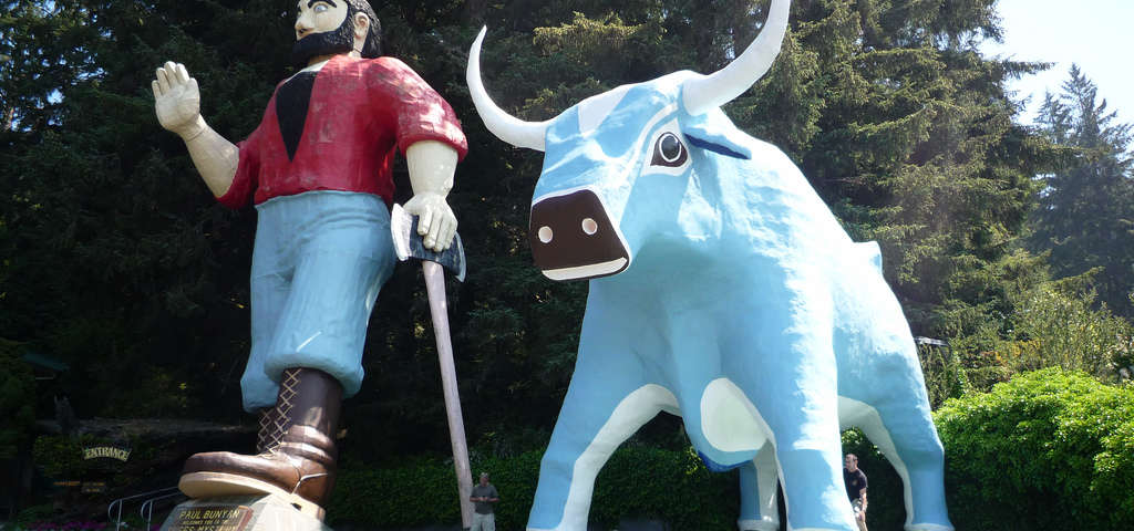 Paul Bunyan Babe The Blue Ox Statues Klamath Roadtrippers - Paul bunyan in us map