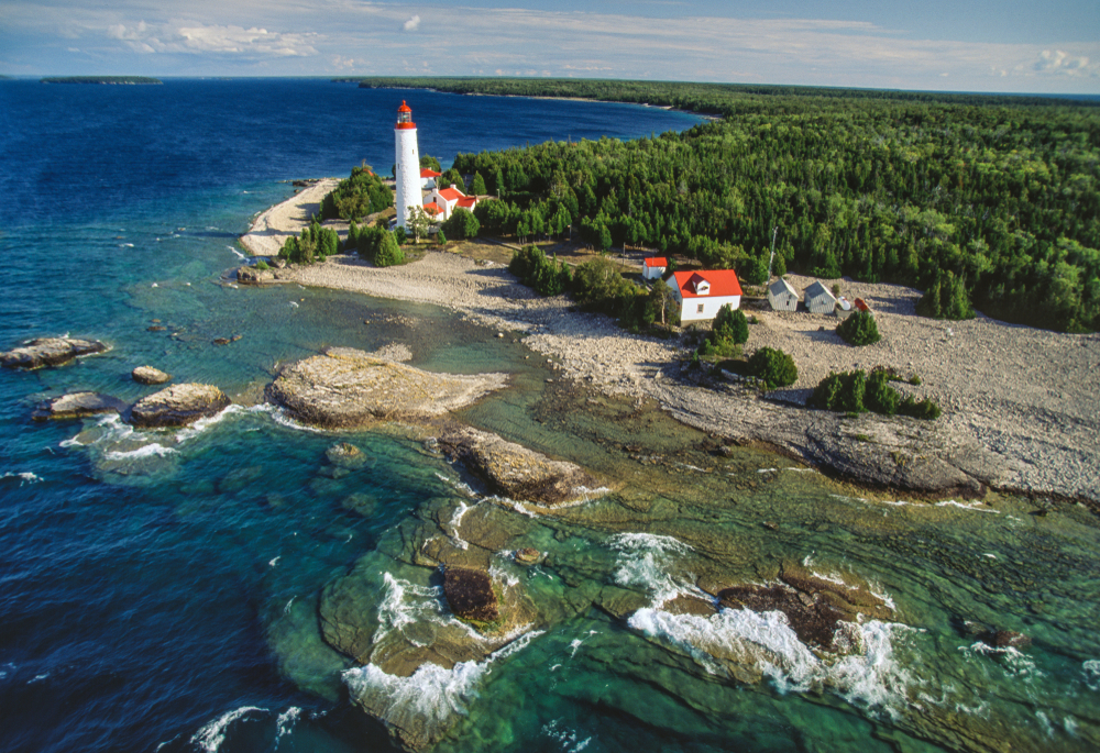 Aerial image of Cove Island Lighthouse, Bruce Peninsula, Ontario, Canada